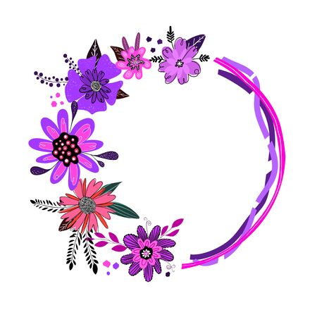 Round frame drawn by hand in doodle style , foliage and flowers pink color , circle from plants for your design. Floral background. Copy space.