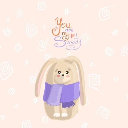 Little rabbit in a purple scarf on a beige background with white patterns. Happy easter concept. Place for an inscription. Ilustrace