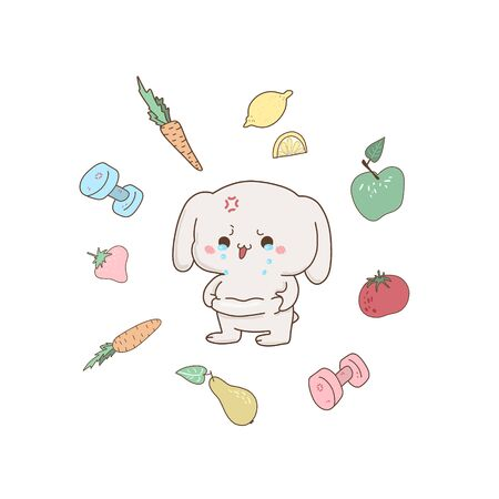 Cute bunny crying because fat, vector hand-drawn illustration in kawaii style. Excess weight . cartoon doodle for childrens textiles, t-shirts or postcards. Ilustrace