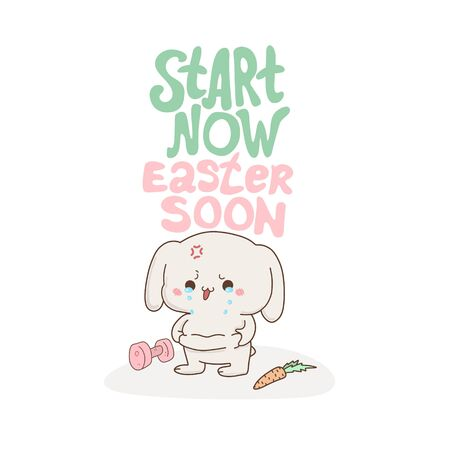 Cute bunny crying because fat, vector hand-drawn illustration in kawaii style. Excess weight . cartoon doodle for childrens textiles, t-shirts or postcards. Çizim