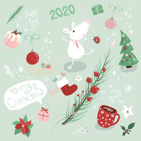 Set cute Christmas illustrations for 2020, year of the rat according to the Chinese calendar. Winter, new year concept. Ilustrace
