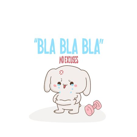 Cute bunny crying because fat, vector hand-drawn illustration in kawaii style. Bla Bla Bla no. Excess weight . cartoon doodle for childrens textiles, t-shirts or postcards.