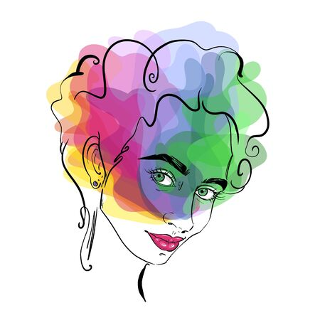 Contour of a girl hand-drawn on a colorful background . Fashion illustration of a stylish look. Vector for design t-shirts typography cards and posters.
