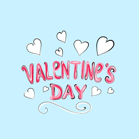 Beautifully written text happy Valentines Day on a white background ,a red heart . Holiday concept. Vector hand drawn illustration in cartoon style .