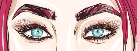 Close-up eyes, fashionable look, evening makeup with sparkles, hand-drawn vector.