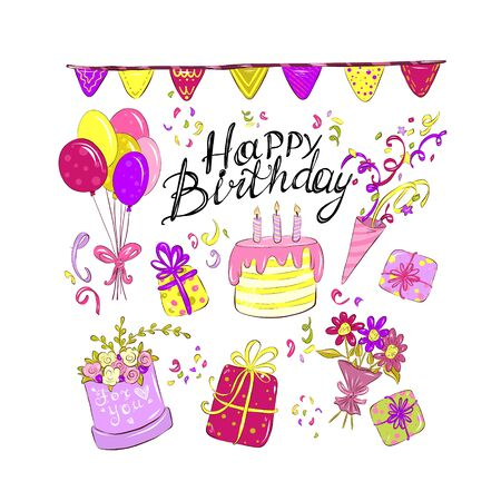 Happy Birthday set, lettering drawn by hand in doodle style. Congratulations and wishes, balloons, flowers and confetti. Pink cake with candles. Anniversary celebration. Vector for design typography.