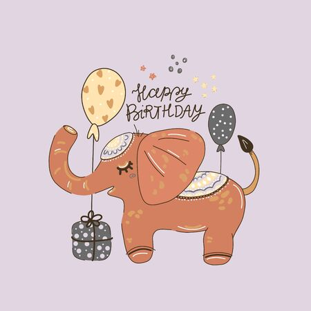 Happy birthday party, cute elephant with presents and balloons, hand-drawn illustration. Anniversary celebration. Vector for design t-shirts typography cards and posters.