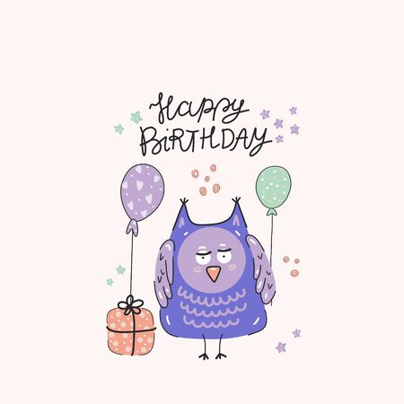 Happy birthday party, cute purple owl with presents and balloons, hand-drawn illustration. Anniversary celebration. Vector for design t-shirts typography cards and posters.