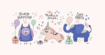 Happy birthday party, cute unicorn ,owl and elephant with presents and balloons, hand-drawn illustration. Anniversary celebration. Vector for design t-shirts typography cards and posters. Иллюстрация