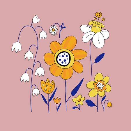 Set of cute flowers in cartoon style. Elements for the design of textiles, cards, t-shirts. Floral flat hand drawn color background. Ilustração