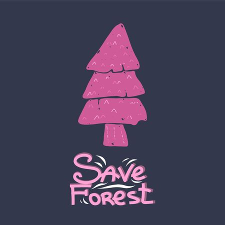 Lettering save the forest, cute spruce trees on a blue background, Scandinavian style, cartoon minimalism. Calligraphic handwritten inscription.