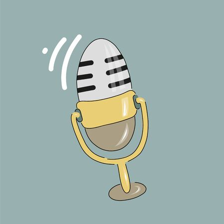 Studio microphone with podcast broadcast, flat cartoon style, media hosting doodle drawing. Ilustração