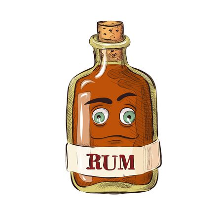 Bottle of rum with facial expression, funny cartoon picture in a flat style. Alcoholic drink.