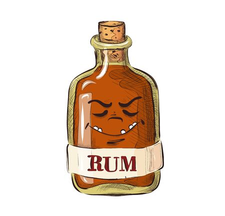 Bottle of rum with facial expression, funny cartoon picture in a flat style. Alcoholic drink. Vector for design t-shirts typography cards and posters.