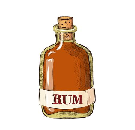 Bottle of rum , cartoon picture in a flat style. Alcoholic drink.