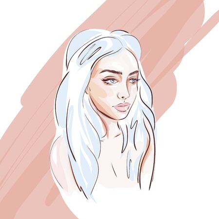Hand-drawn young beautiful girl with makeup and unusual blue hair. Fashion illustration of a stylish look. Ilustracja