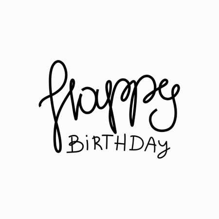 Happy birthday design elements. Hand drawn lettering.