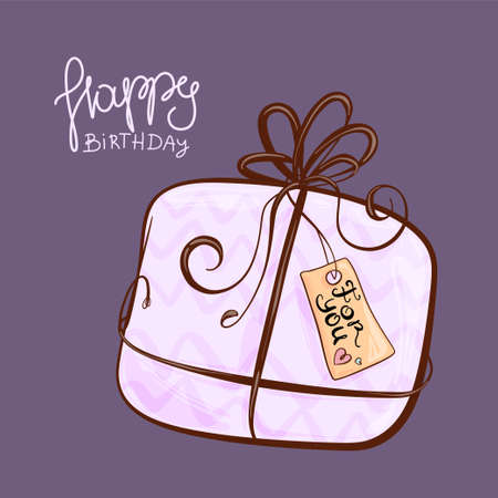 Birthday presents, hand-drawn illustration, cute gift boxes for the holiday. Illusztráció