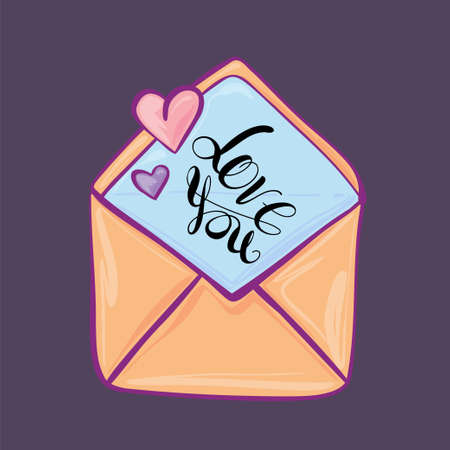 Envelope in which a declaration of love, cartoon style, flat vector. Valentine Day. Illusztráció