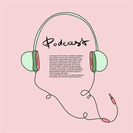 Headphones with podcast broadcast, flat cartoon style. Sound recording device.