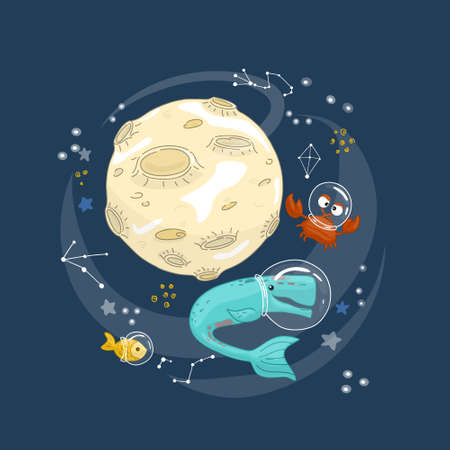 Animals travel in space. Doodle in cartoon style, flat vector illustration. Humor concept. Illusztráció