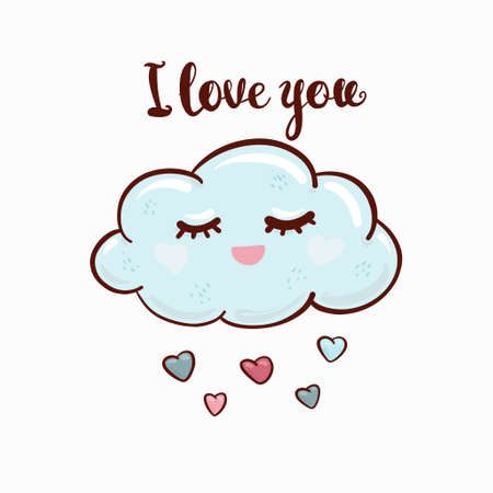 I love you - lettering handwriting, beautiful inscription decorated cloud with hearts.