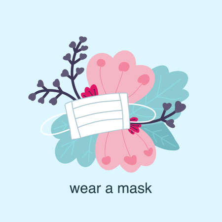 Wear mask, vector in flat style, flowers and white medical mask to protect against viruses.