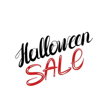 Halloween sale - lettering handwriting, beautiful inscription .
