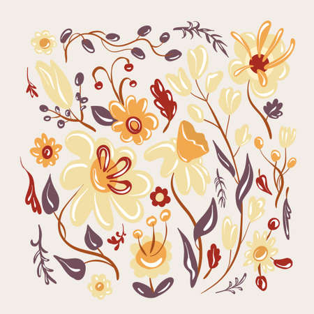 Set of cute flowers in cartoon style. Elements for the design of textiles.