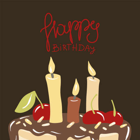 Cake with candles. Anniversary celebration. Vector for design t-shirts typography cards and posters. 向量圖像