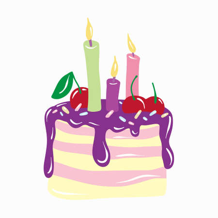 Cake with candles. Anniversary celebration. Vector for design t-shirts typography cards and posters. Illusztráció