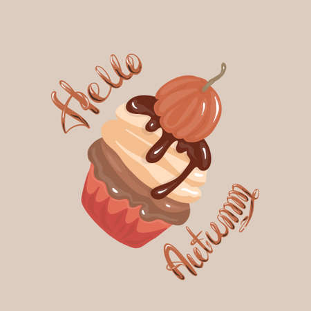 Hello autumn- hand lettering. Autumn dessert with pumpkin, delicious cupcake flat vector. Muffin sweet pastries.