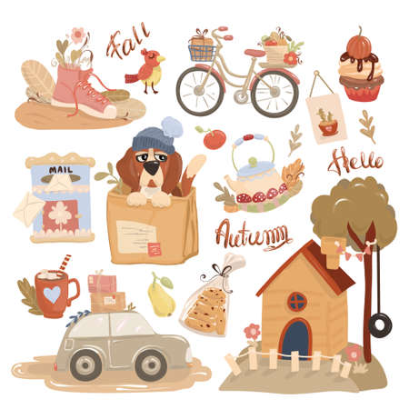 Autumn postcard. Set of vector icons on the theme of hello autumn. Cute seasonal elements. Illusztráció