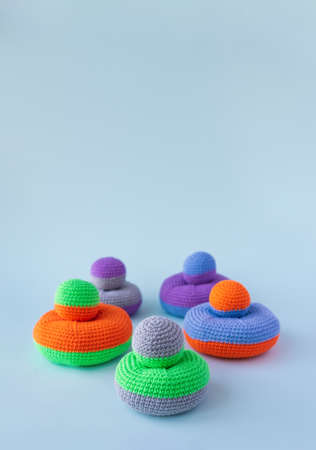 Childrens educational game, knitted toys, childrens hand motor development.
