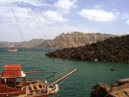santorini greece: the volcano island in Santorini, Greece Stock Photo