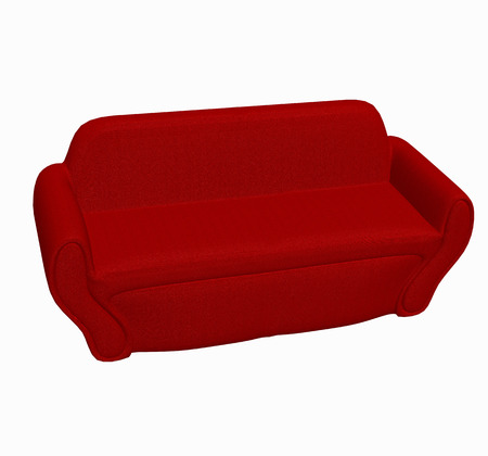 red sofa 3D render Stock Photo