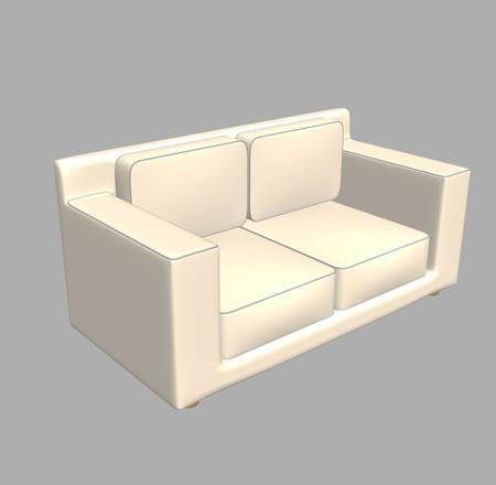 loveseat: white sofa 3D render