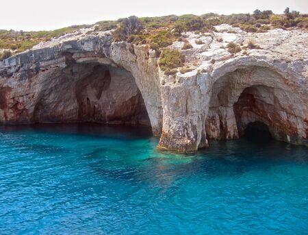 ionio: sea caves in Zante island, Greece Stock Photo