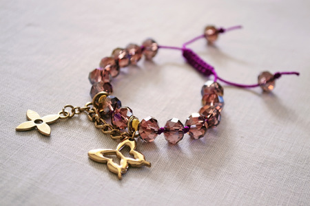 bracelet with purple beads photo