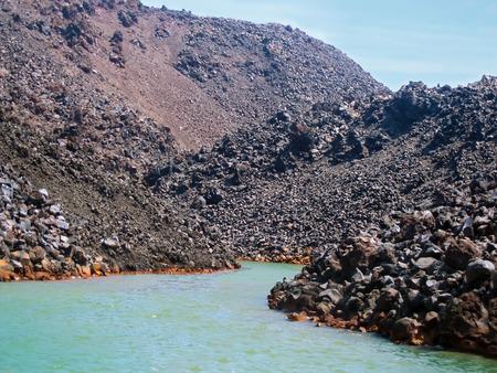 therapy geothermal: Santorinis volcano island Greece Stock Photo