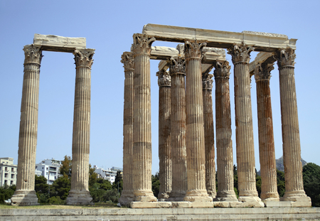 greek temple: ancient in Athens Greece Stock Photo