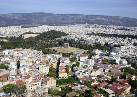 olympian: cityscape of Athens with the Temple of Olympian Zeus view
