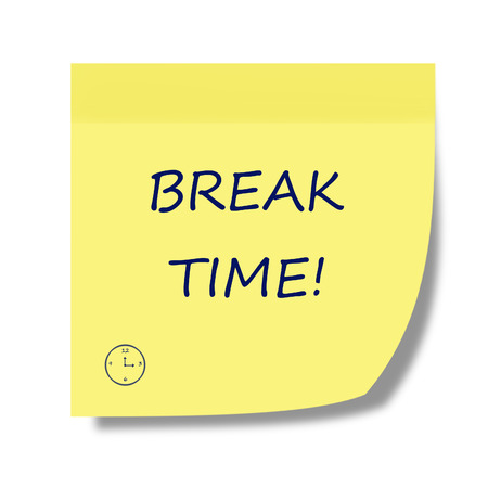 break time note Stock Photo