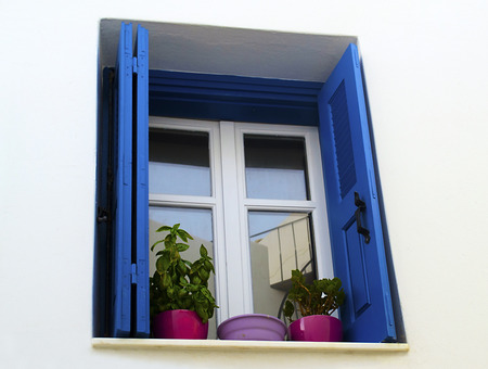 cycladic: cycladic window Greece Stock Photo