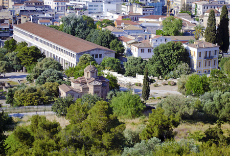 the old church: stoa of Attalos and an old church in Athens Greece Stock Photo