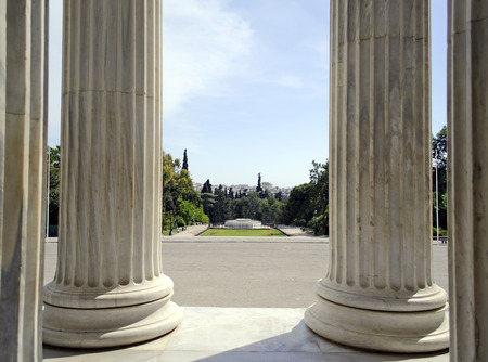 sightseeng: athens view behind the columns of Zappeion megaro hall Greece