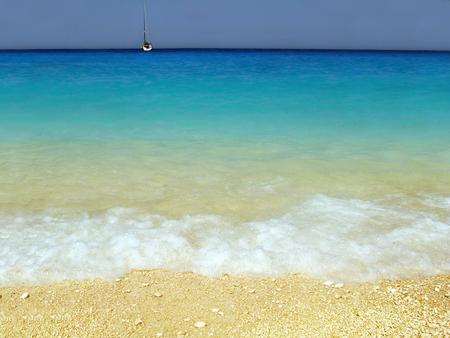 ionio: Navagio beach at Zante island Greece Stock Photo