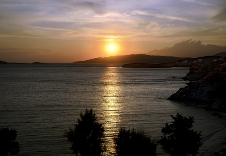 andros: sunset in Andros island Greece