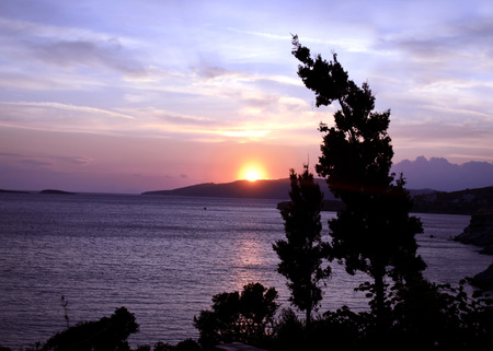 cyclades: colorful sunset in cyclades Greece