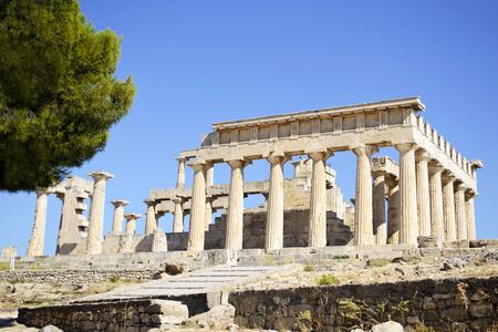 temple: temple of Aphaia in Aegina island Greece Stock Photo